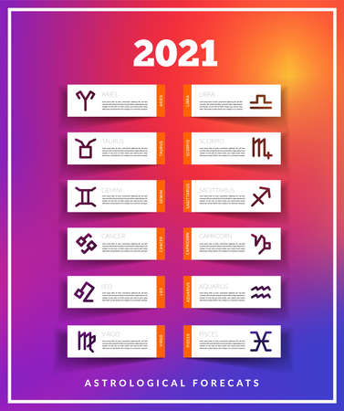 Astrological Forecast 2021 vector illustration on modern trending gradient background. Paper cut design