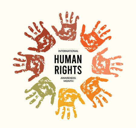 December is Human Rights Awareness Month. Vector illustration with hands on background