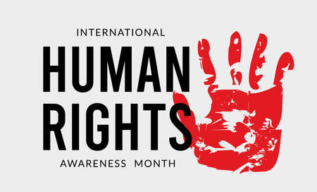 December is Human Rights Awareness Month. Vector illustration with hand on background