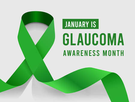 January is Glaucoma Awareness Month. Vector illustration with green ribbon on background