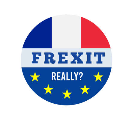 Frexit with flag of France and flag of EU. Vector illsutration on white