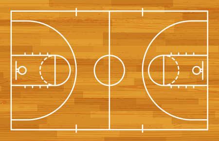 Basketball fireld with markings and wood texture. Vector Ilustracje wektorowe