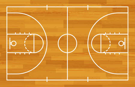 Basketball fireld with markings and wood texture. Vector