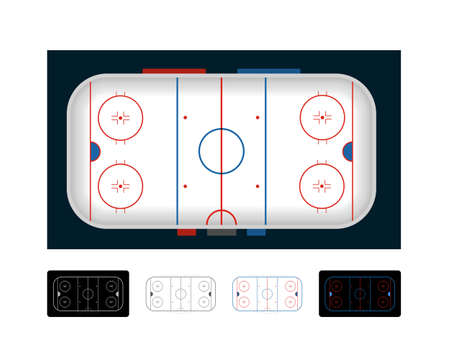 Ice hockey arena, ice hockey field. Set of vector illustrations on black and whie background