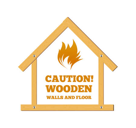 Wooden house. Caution, flammable. Fire. Vector illustration 向量圖像