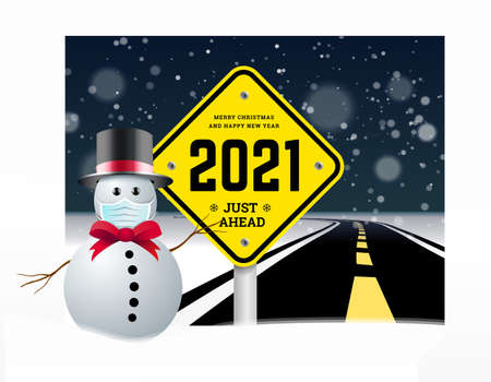 Happy New Year 2021 and Christmas greetings with road signs on the background of the road going into the distance. Planning concept and goals implementation. illustration of snowy background with snowman in the hat