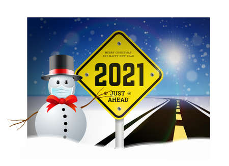 Happy New Year 2021 and Christmas greetings with road signs on the background of the road going into the distance. Planning concept and goals implementation. Vector illustration of snowy background with snowman in the hat
