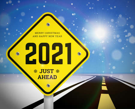 Happy New Year 2021 and Christmas greetings with road signs on the background of the road going into the distance. Planning concept and goals implementation. Vector illustration of snowy background