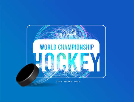 Ice hockey puck on a background of ice and skating patterns. Vector illustration on light blue background