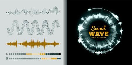 Vector sound waves set on black and white background. Soundwave amplitude equalizer design 向量圖像