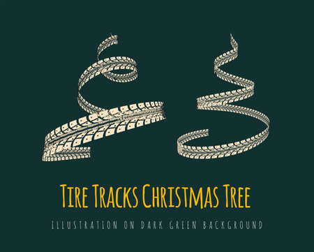 New Year tree made of tire tracks twisted in a spiral shape. Vector 3d illustration on a modern dark green background.