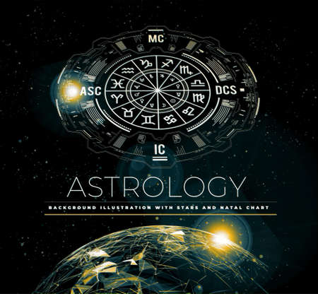 Astrology background. Example of the natal chart the planets in the houses and aspects between them. Earth planet