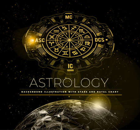 Astrology vector background. Example of the natal chart the planets in the houses and aspects between them. Earth planet 向量圖像