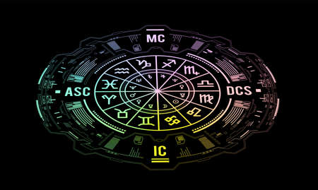 Astrology vector background. Example of the natal chart the planets in the houses and aspects between them 向量圖像