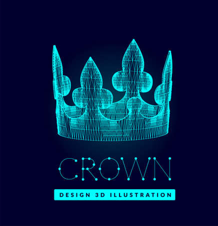 3d vector crown made of lines and dots. Mesh low poly structure on dark blue background