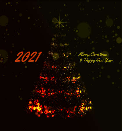 2021 Christmas Tree Vector Background illustration with christmas lights on dark background 向量圖像