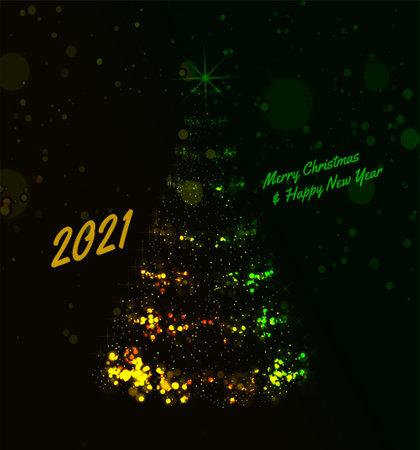 2021 Christmas Tree Vector Background illustration with chritmas lights on dark background 向量圖像