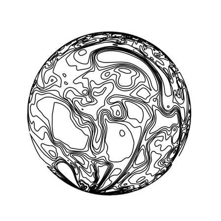Sphere in the form of lines. Marble style ink vector