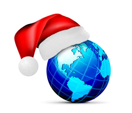 Globe in a hat of santa claus, on a white background. Vector illustration