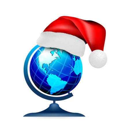 Globe on stand in a hat of santa claus, on a white background. Vector illustration