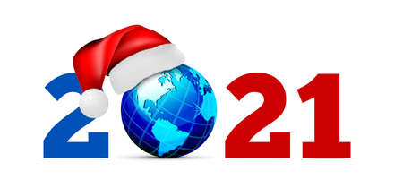 Globe in a hat of santa claus, on a white background. Vector illustration. 2021 Happy new year