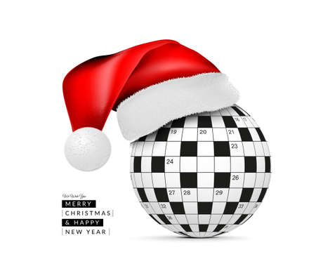 Sphere from a crossword grid in a santa class hat. Vector illustraion on white background. 2021 Happy New Year