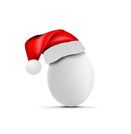 Chicken or ostrich egg with santa claus hat. Vector illustration on white background 向量圖像