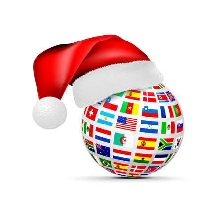 A sphere of national flags in a cap of a santa claus. Concept for studying foreign languages, logistics or travel. Vector illustration on white background