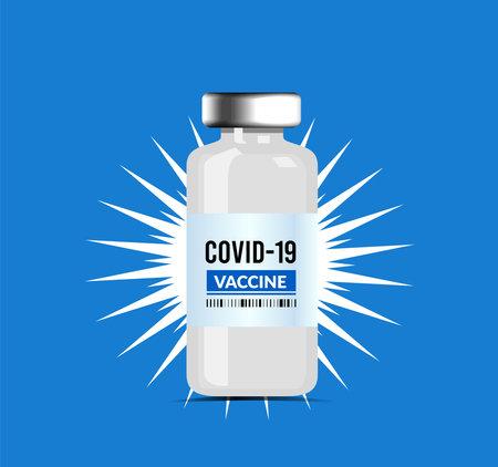 Coronavirus vaccine, vector illustration isolated on blue background 向量圖像