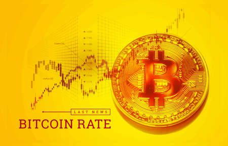 Trading bitcoin on the exchange. The growth of the bitcoin rate. Cryptocurrency exchange quotes. Vector
