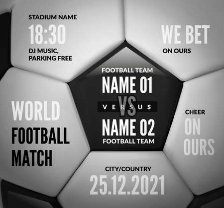 Soccer ball close up with text for football match design. Vector illustration 向量圖像
