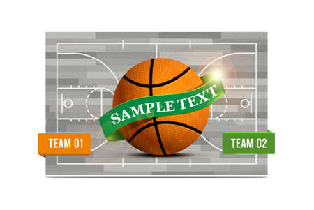 Basketball field with a basketball ball. Vector illustration, can be used as flyer, poster, invitation 向量圖像