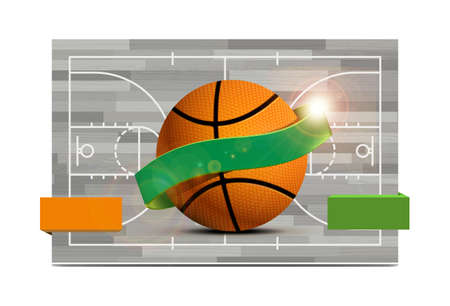 Basketball field with a basketball ball. illustration, can be used as flyer, poster, invitation