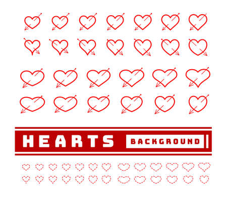 heart with arrows set vector illusrtraion on white background