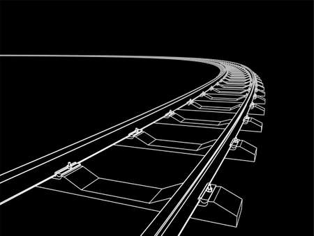 The railway going forward. 3d vector illustration on a black background.