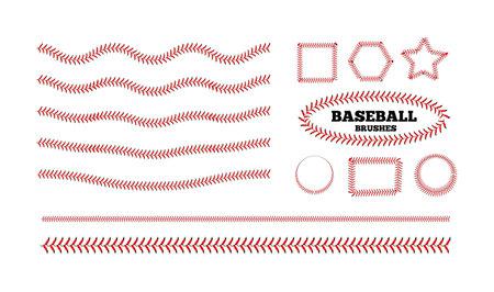Baseball lacing on white background. Vector set