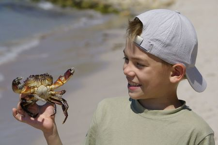 Boy holds crab in the hands on the sea shore Stock Photo