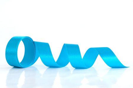 Blue ribbon against the white background