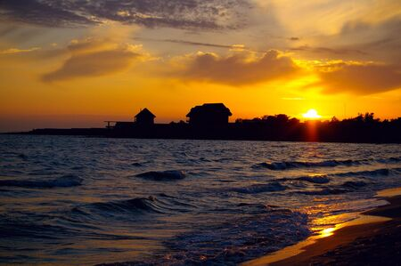Sunset on the shore of the black sea