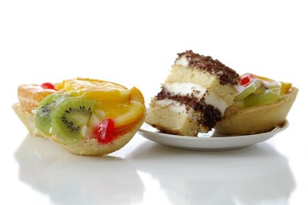 Several fruit pastry against the white background