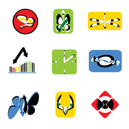 illustration of different simple cartoon icons with the arrows