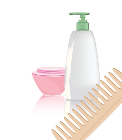 Illustration of the objects of hygiene against the white background Illustration