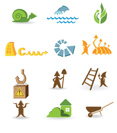 Construction and ecological icons with the different arrows Stock Vector - 6567076