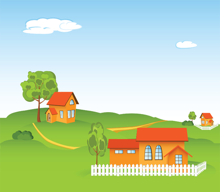 illustration of new houses in the rural locality Vector