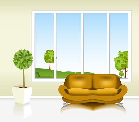 Wohnzimmer Couch Mit Dem Sofa Vor Hintergrund Des Fensters Illustration