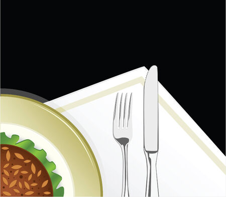 Illustration of plate with the food and fork with the knife
