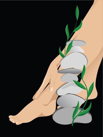 Women of the leg against the black background  Illustration