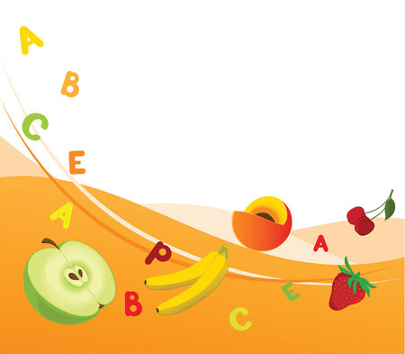 Combined illustration of fruit background with the vitamins  Stock Vector - 6567078