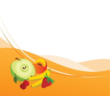 Combined illustration of the fruit background Stock Vector - 6567080