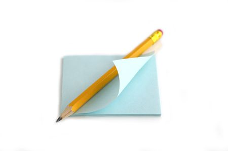 Pencil and note against the white background Stock Photo